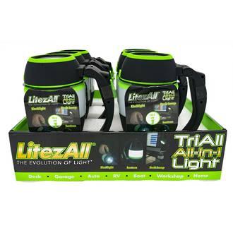 LitezAll TriAll Lantern/Desk Lamp/Flashlight Display - 6pcs