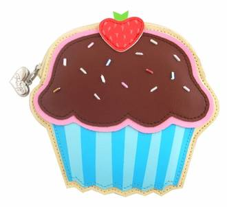 Fluff Coin Purse - Chocolate Strawberry Cupcake