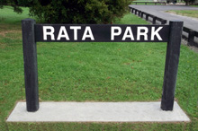 Recycled plastic plank sign, Rata Park