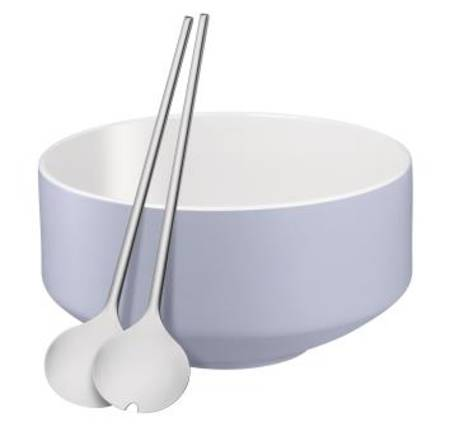 Salad Bowl with Servers Moto Blue
