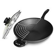 Swiss Diamond Wok with lid & wire rack 32cm