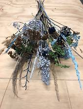 Dried flowers blue and green mix bunch
