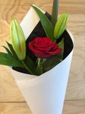 Single red rose and fragrant lily