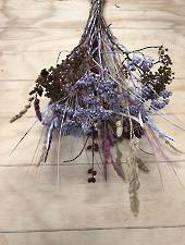 Dried flowers pink and purple mix bunch