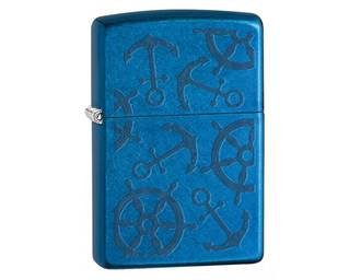 Zippo Nautical Pattern, Two Sides - Cerulean Lighter