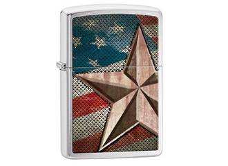 Zippo Retro Star-Flag Brushed Chrome Lighter