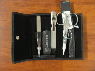 Zwilling J.A Henckels Classic Inox Pocket case, neat's leather, black, 3 pcs