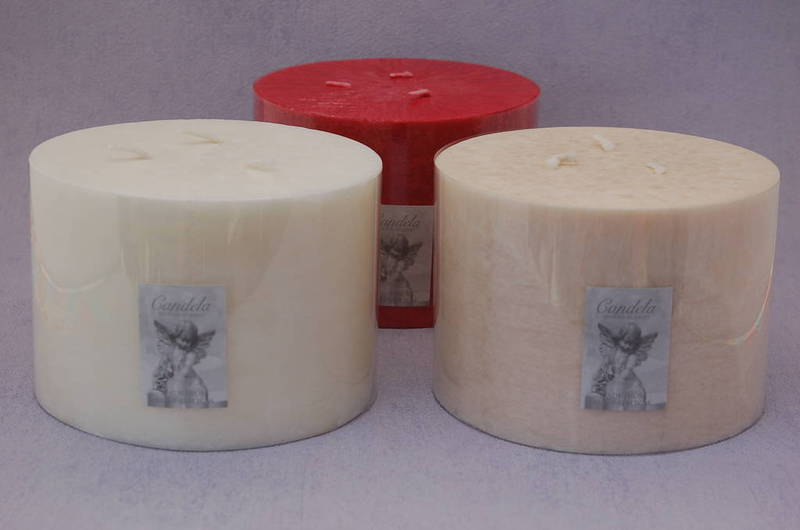 Half Giant Candles Cream/Vanilla Fragrance, Three Wick Candle