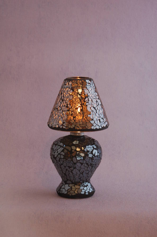 Mosaic Lamp shade tea light holder, silver/Black
