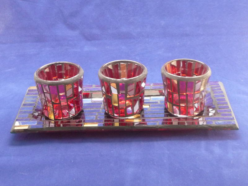Mosaic Glass tea light/votive tray and holders
