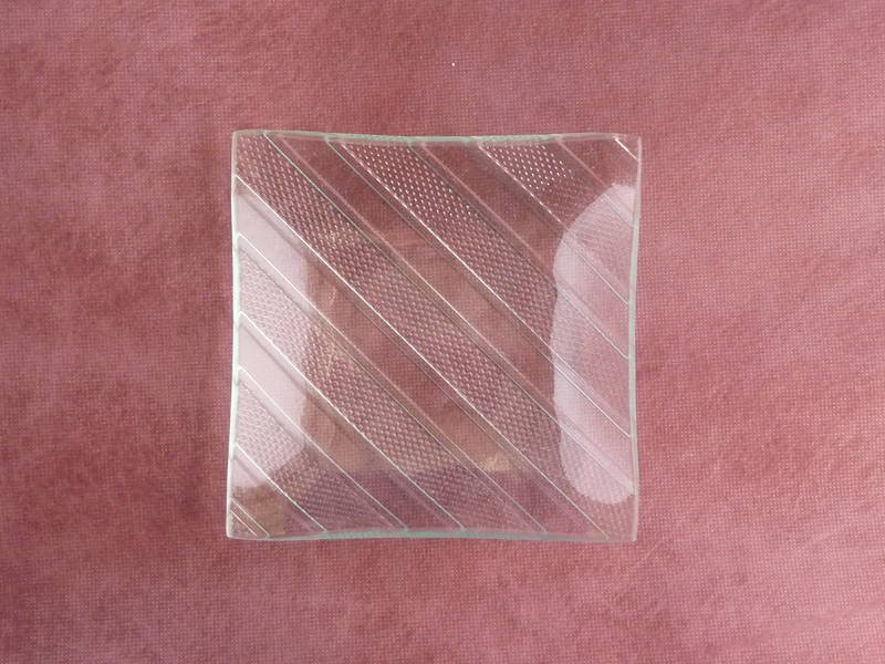 Square glass candle plate diagonal design