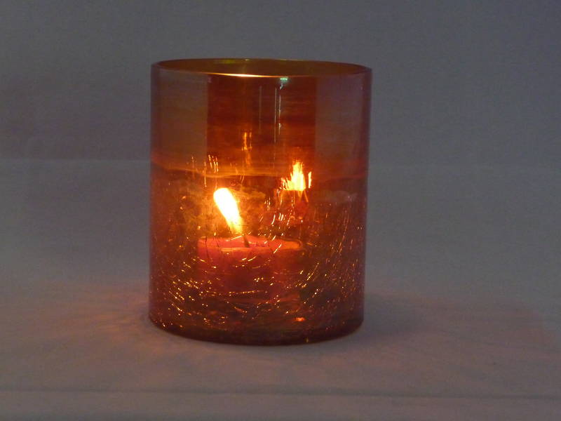 Coloured Half Crackle Glass Tea Light Holder