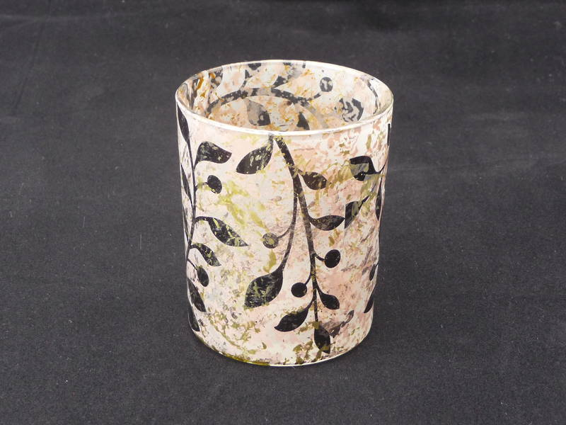 Leaf Design Small glass tea light holder