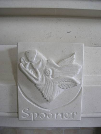 Spooners' Boars Head Coat of Arms, carved in Portuguese Limestone