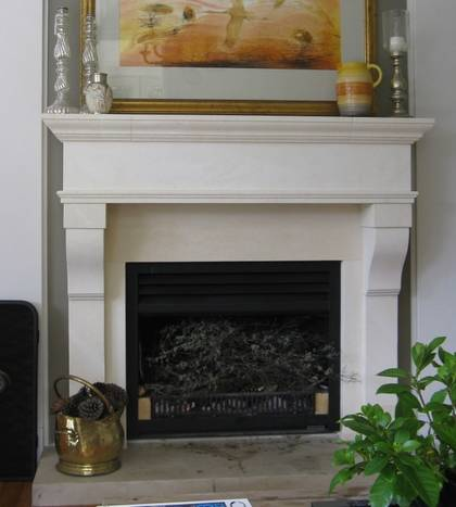 17th Century French styled fire surround with carved corbels, carved in Oamaru Limestone