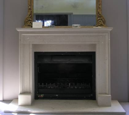 18th Century French style fireplace, hand carved in Hinuera Stone