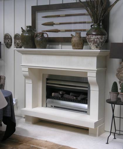 Loggia setting for a  provincial  fire surround and raised hearth,carved  in Oamaru Limestone