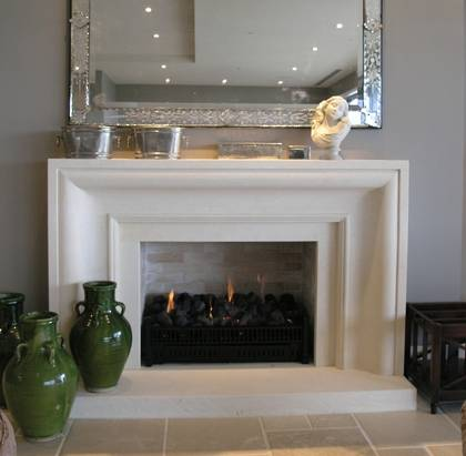 Large contemporary connecting curve design with moulding to internal edge, carved in Oamaru Limestone