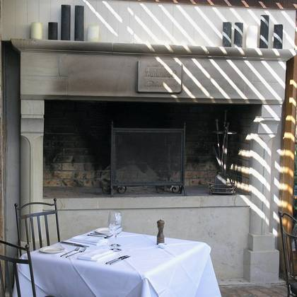 Large French 'Gothique' fireplace, carved in Hinuera stone. Commissioned by 'The Mudbrick' restaurant Waiheke Island