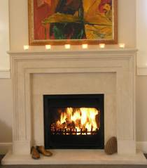 18th Century English designed Fireplace carved in Oamaru Limestone with aged Patina