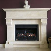 Large French Provincial style fireplace with raised hearth, carved in Oamaru Limestone with aged patina