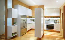 Floating cabinets and timber verticals create x-factor