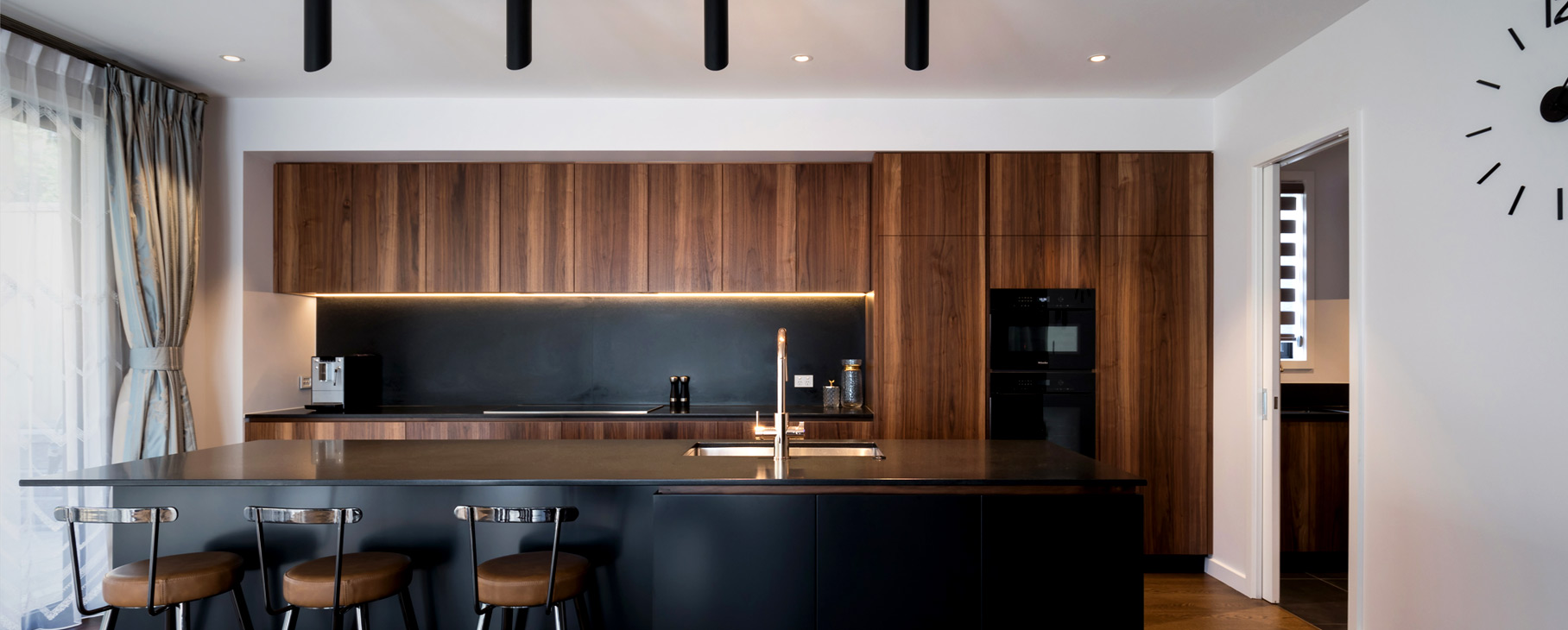 Neo Design custom kitchen walnut black granite minimalist auckland