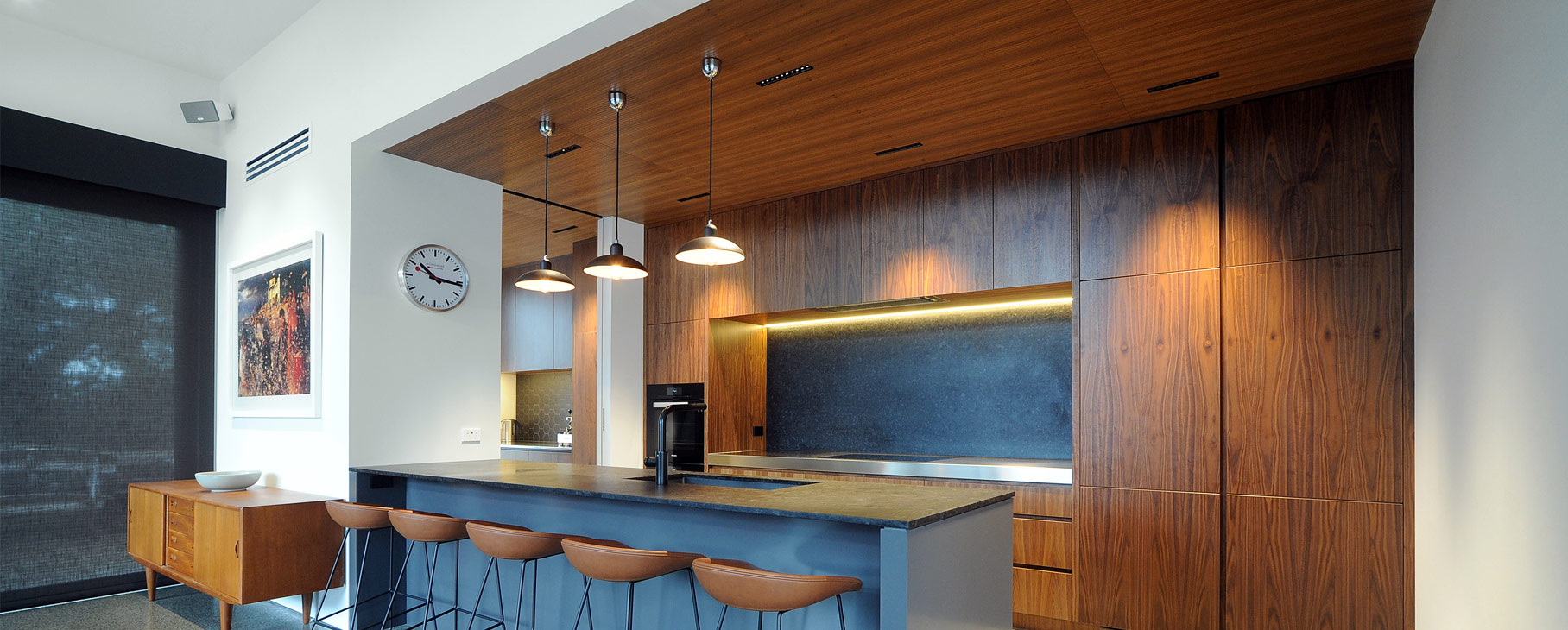 veneer walnut modern kitchen