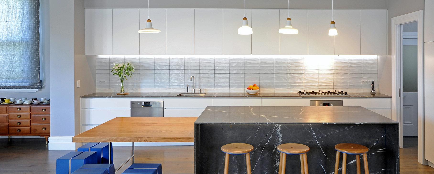modern marble island white tiles