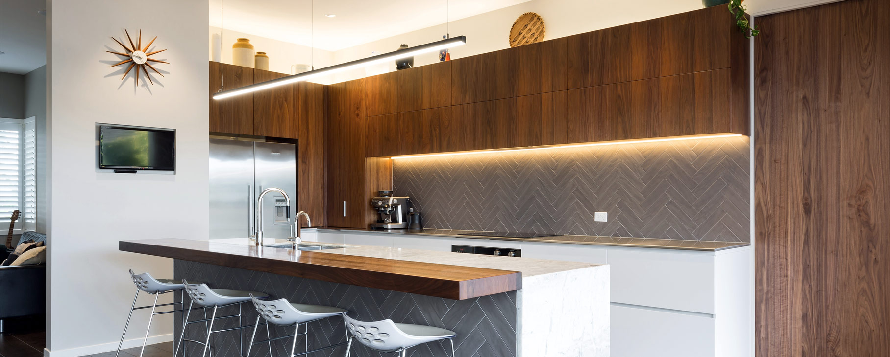 modern kitchen design herringbone tiles