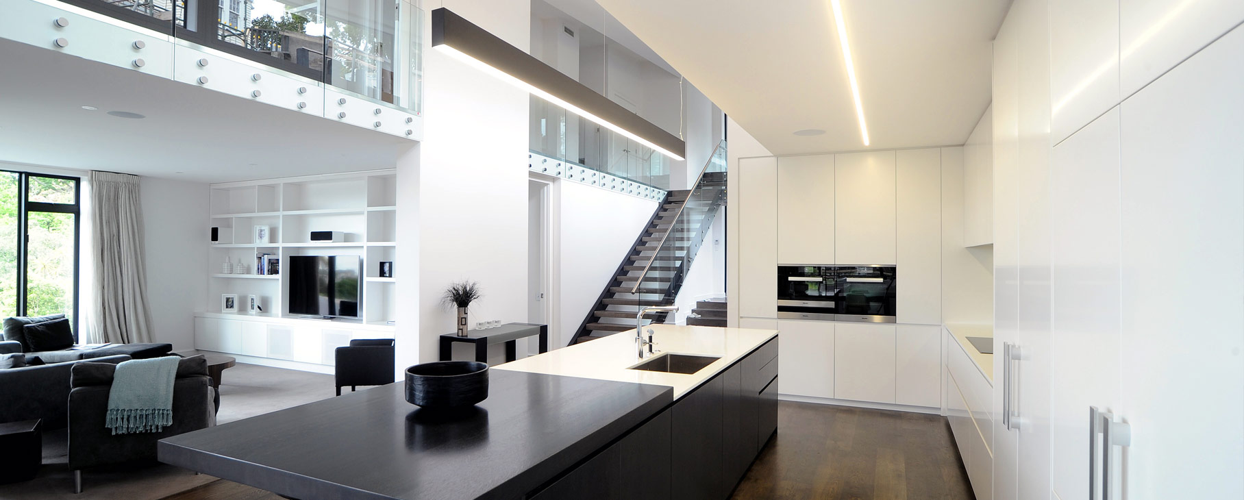 modern minimalist black and white kitchen design nz