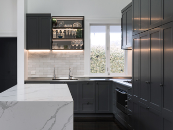 THUMB Neo design designer renovation kitchen marble engineered stone benchtop shaker classic traditional Auckland Devonport