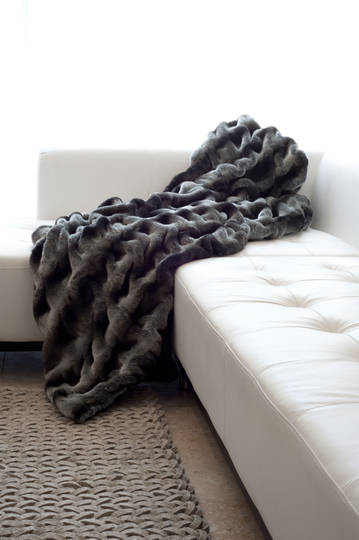 Heirloom Exotic Faux Fur Cushion/ Throw - Ruched Chinchilla