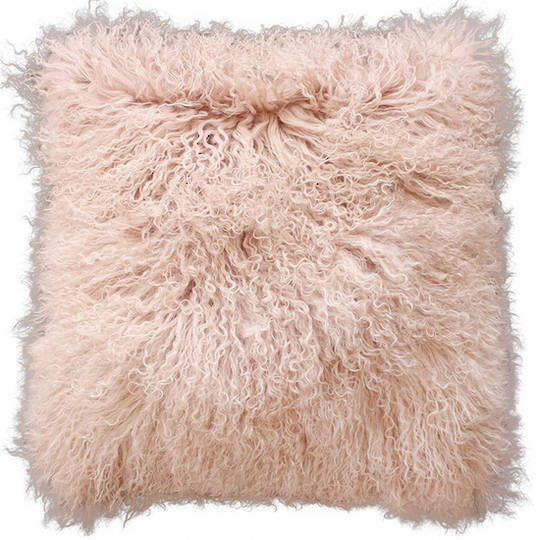 Furtex - Meru Tibetan Lamb Fur Cushion - Blush Pink