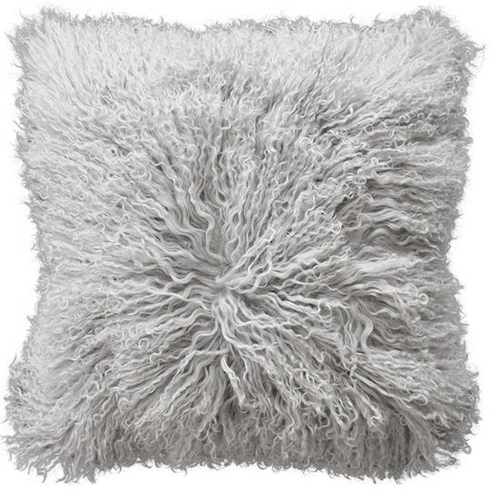 Furtex - Meru Tibetan Lamb Fur Cushion - Silver Grey
