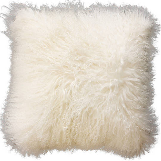 Furtex - Meru Tibetan Lamb Fur Cushion - Natural White