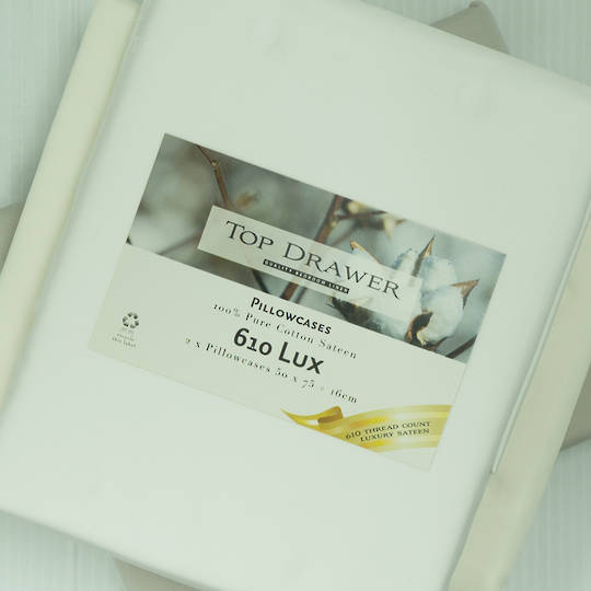 Top Drawer - 610TC 100% Cotton Luxury Sateen Sheet Sets - White
