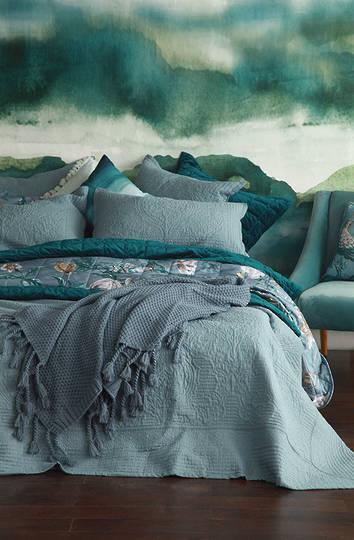 MM Linen - Allegra Bedspread Set / Eurocases - Bluestone