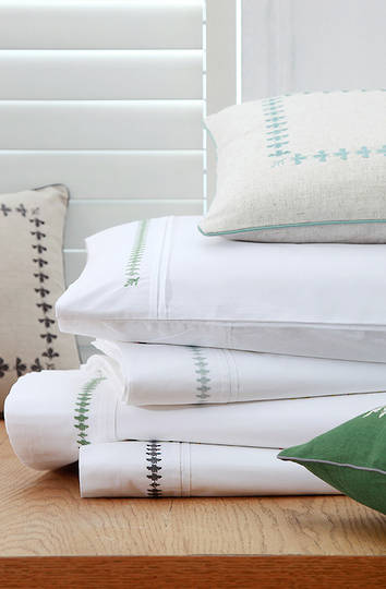 MM Linen French Bee  Sheet Set/Pillowcases /Eurocases - Green