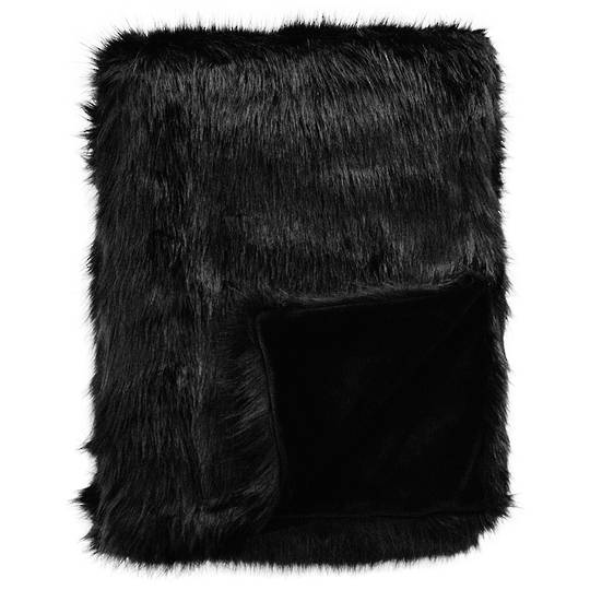 Heirloom Exotic Faux Fur Cushion / Throw  - Black Fox