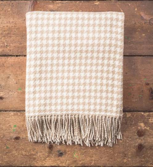 Importico - Foxford - Merino Throws - Houndstooth Bone