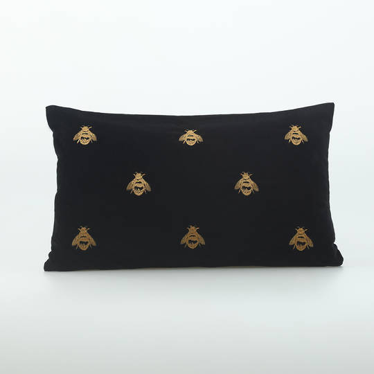 MM Linen - Buzz Cushion - Black