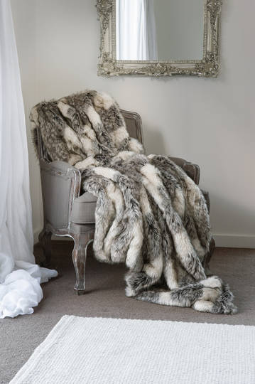 Heirloom Exotic Faux Fur Cushion / Throw - Mountain Wolf