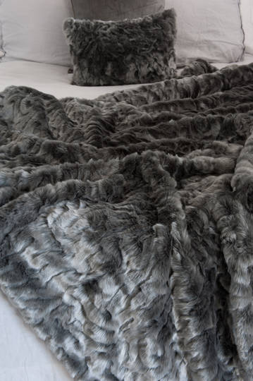 Heirloom Exotic Faux Fur Cushion / Throw - Pewter Chinchilla
