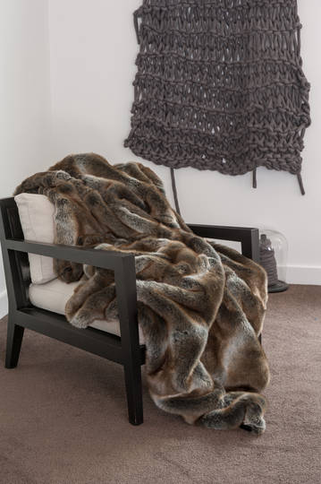 Heirloom Exotic Faux Fur Cushion / Throw - Striped Elk