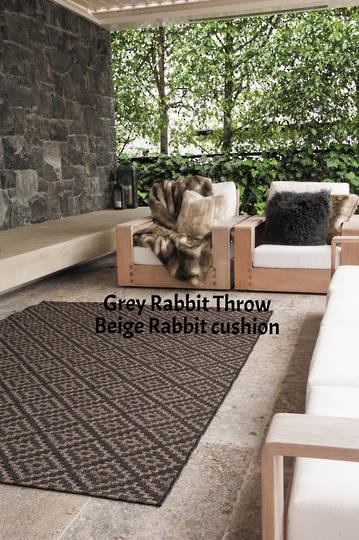 Heirloom Exotic Faux Fur Cushion / Throw -  Grey Rabbit