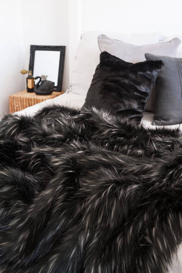 Heirloom Exotic Faux Fur Cushion/ Throw  - Ebony Plume