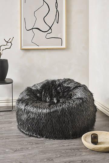 Heirloom Exotic Faux Fur - Plush Pod Bean Bags - Ebony Plume