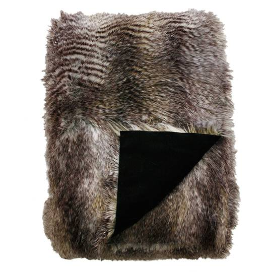 Heirloom Exotic Faux Fur Cushion / Throw  - Golden Pheasant