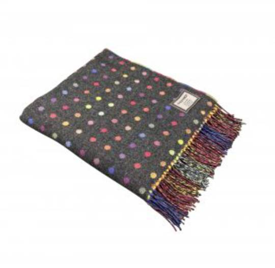 Importico - Foxford - Lambswool Throws - Spot Grey - Multi